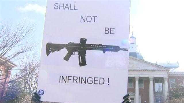 Nearly 1,000 gun rights activists rallied at Lawyers Mall in Annapolis on Wednesday to testify against the governors gun control legislation.