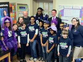 Ravens wide receiver Torrey Smith visits students at Chase Elementary School in Essex to talk about the importance of eating healthy and exercising.