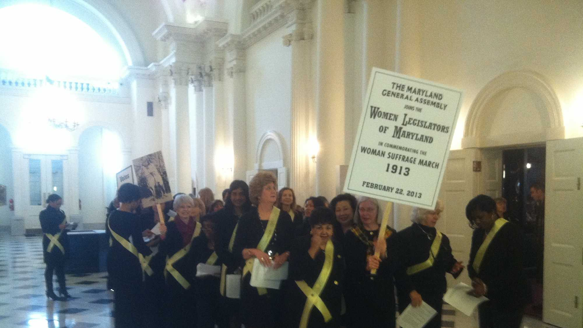Feb. 22: More than 50 women from the State House and Senate re-enact the women's suffrage parade that changed history in 1913.