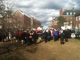 Protesters at the gun control rally at Lawyer's Mall in Annapolis on Friday.