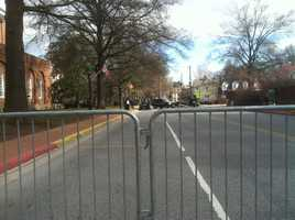 Police close College Avenue in Annapolis during a gun rally Friday.