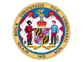 "The Great Seal of Maryland: The reverse side shows Lord Baltimore's ""escutcheon"" or ""shield,"" with figures of a farmer and a fisherman. The Italian scroll reads, ""Manly deeds, womanly words."" The border is ""With favor wilt thou compass us as with a shield"" (Psalms V, 12). The obverse side shows Lord Baltimore armed and mounted. -- Maryland Manual"