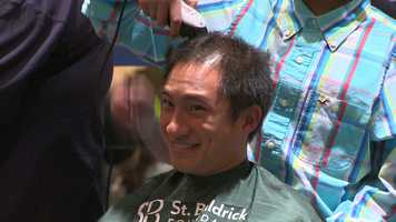 The head-shaving was part of the fifth annual Baltimore Heroes St. Baldrick's event held at Martin's East along Pulaski Highway in Baltimore County.