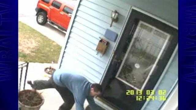 A man flanked by his child stole two deliveries left on a Baltimore woman's porch minutes after they arrived, surveillance video shows.