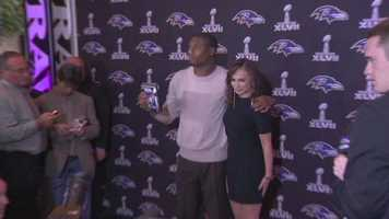 Jacoby Jones shows up with his date....