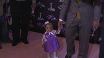 Rice brought his adorable daughter to the event.