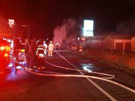 A tractor-trailer caught fire early Wednesday morning on Interstate 83 near the intersection with I-695.