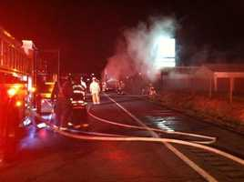 Baltimore County fire officials said they found a rig around 2 a.m. with its rear brakes on fire on I-83 northbound between I-695 and the Timonium Road exit.