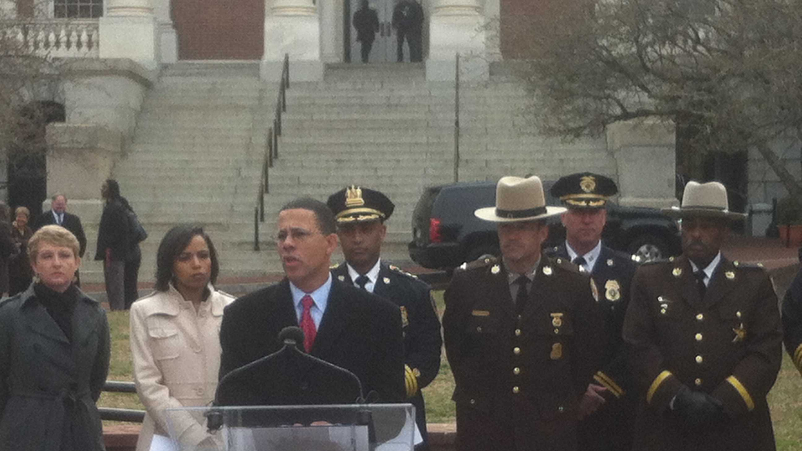 Lt. Gov. Anthony Brown and law enforcement officials urge the passage of the governor's gun safety legislation.