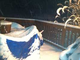 Jen Franciotti reports 3 inches of snow at her home in Westminster at 6 a.m. Monday.
