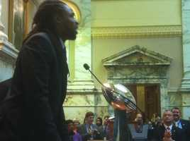 Torrey Smith then talked to the delegates.