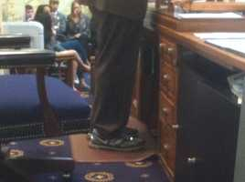 It's a telltale sign that it's going to be a long day in the House when Speaker Michael Busch wears his sneakers.