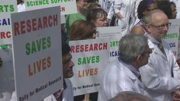The rally, which was organized by the American Association for Cancer Research, was held in solidarity with a similar one held in Washington, D.C., urging lawmakers not to allow federal funding cuts to the National Institutes of Health and to make funding research a national priority.