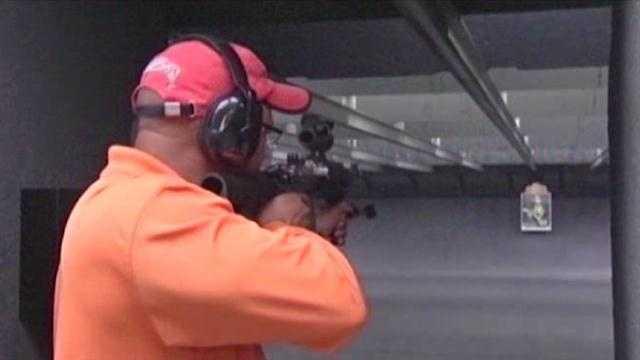 long gun at firing range