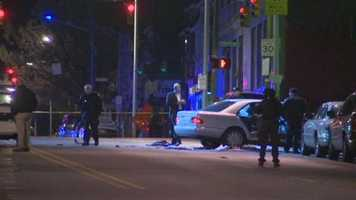 Two people were taken to hospitals Monday night and another was killed during an officer-involved shooting in southwest Baltimore.