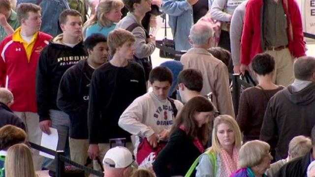 Travelers arrive early at airport just in case