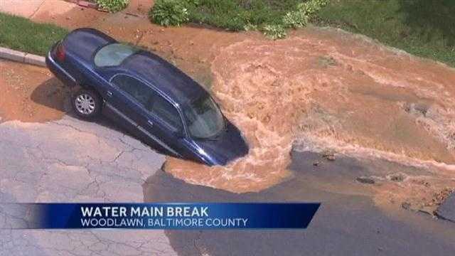 Water main break in Woodlawn