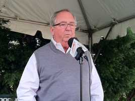 Trainer Shug McGaughey talks about Orb after arriving at Pimlico