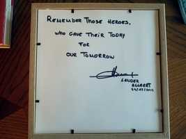 A message Allaert left on the back of the shadow box.