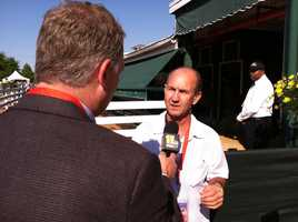 WBAL-TV 11's Pete Gilbert interviewing former jockey and NBC racing analyst Jerry Bailey