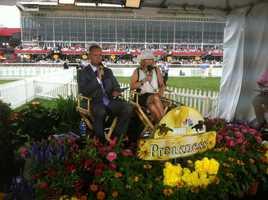 WBAL's Gerry Sandusky and Donna Hamilton prepare for the broadcast.