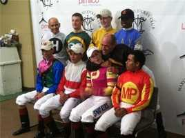 Great jockey shenanigans Gary Stevens and Rosie Napravnik a half-hour before the Preakness