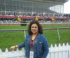 WBAL-TV 11 News Web producer/reporter Saliqa Khan at the Preakness infield.