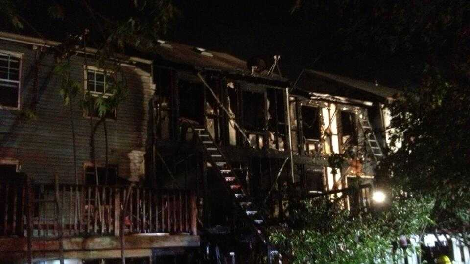 Several of the town homes were declared uninhabitable, fire officials say.