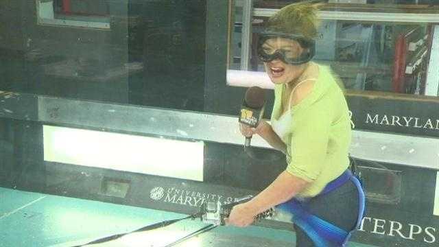 11 News' Kim Dacey braves wind tunnel