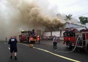 Two firefighters were injured Tuesday evening while fighting a fire at Anderson's Hardware Store.