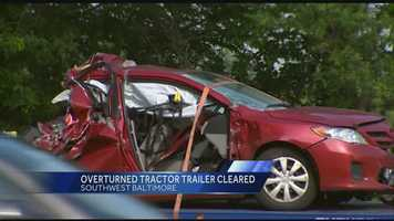 A tractor-trailer, box truck and a car collide on Interstate 95 early Thursday morning.