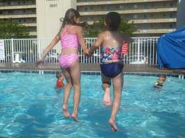 Morgan and Megan at an Ocean City pool