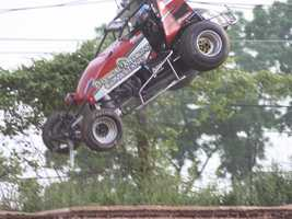 USAC Sprint car flipped out of Susquehanna speedway. Got hung up on catch fence.