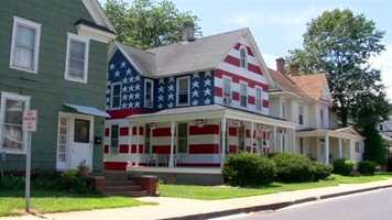 It's a house that's painted to look like the American flag. Amara reported that even the toughest road warriors have been known to pull over and take a picture.