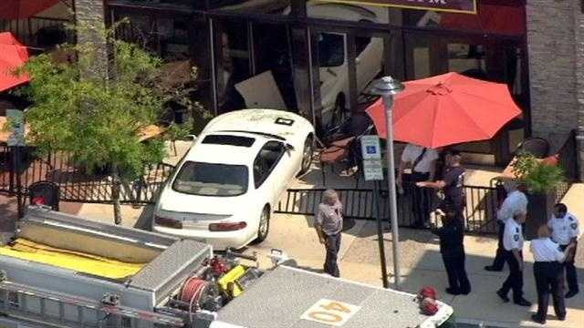 car hits restaurant