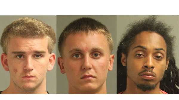 Police say Brendan Matthew Hewes (left), Alexander Howard Evans (middle) and Kenny Carlos Truxon (right) were arrested and face drug-related charges.