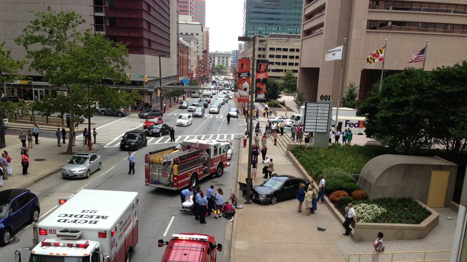 downtown Baltimore crash