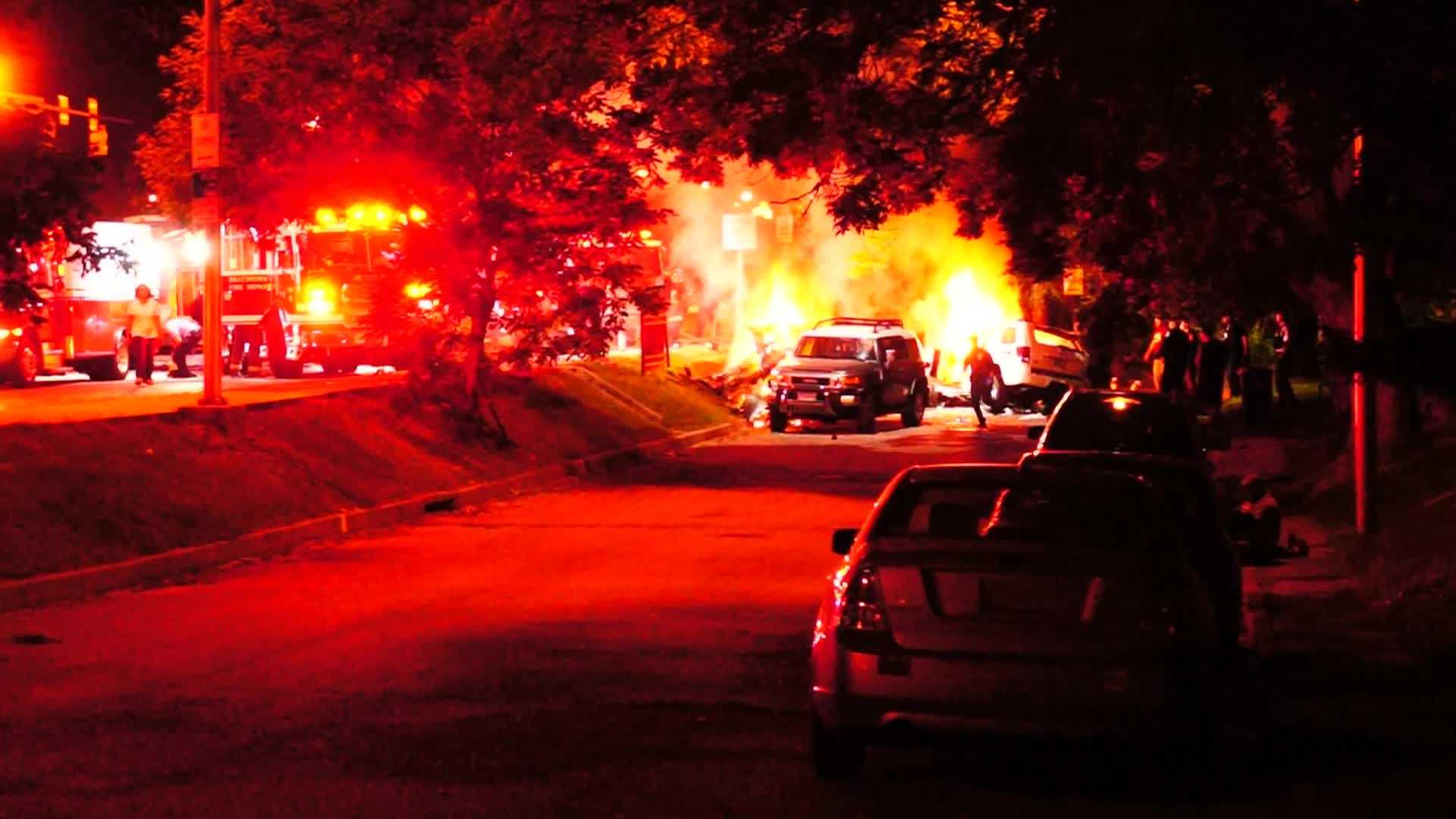 Cellphone video shows fiery crash scene