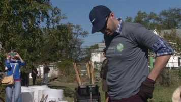 "Actor Tony Hale, who's also known as Gary Walsh -- the right-hand man to Julia Louis-Dreyfes' character -- in ""Veep,"" helps dig and plant in the community garden."