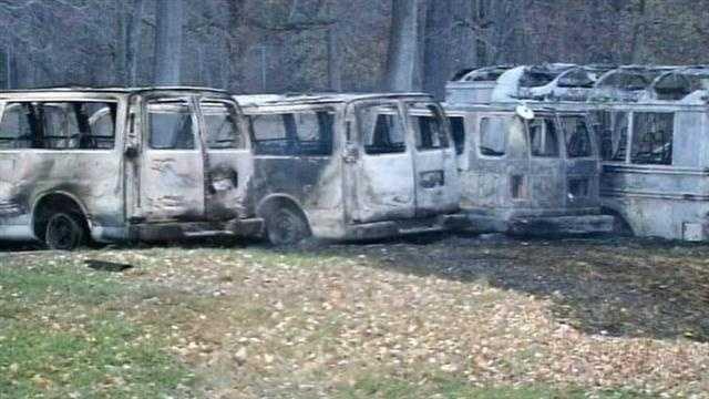 burned vehicles