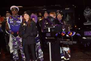 Ava Marie hosts an early Ravens pep rally at the WBAL-TV studios as the Ravens get set to take on the rival Steelers on Thanksgiving at M&T Bank Stadium.