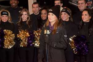 Several of the Ravens cheerleaders turned out for the event.