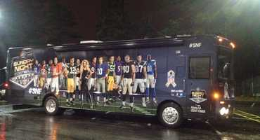 The NBC Sunday Night Football party bus also made a pit-stop at the station as it rolled into town before the game.