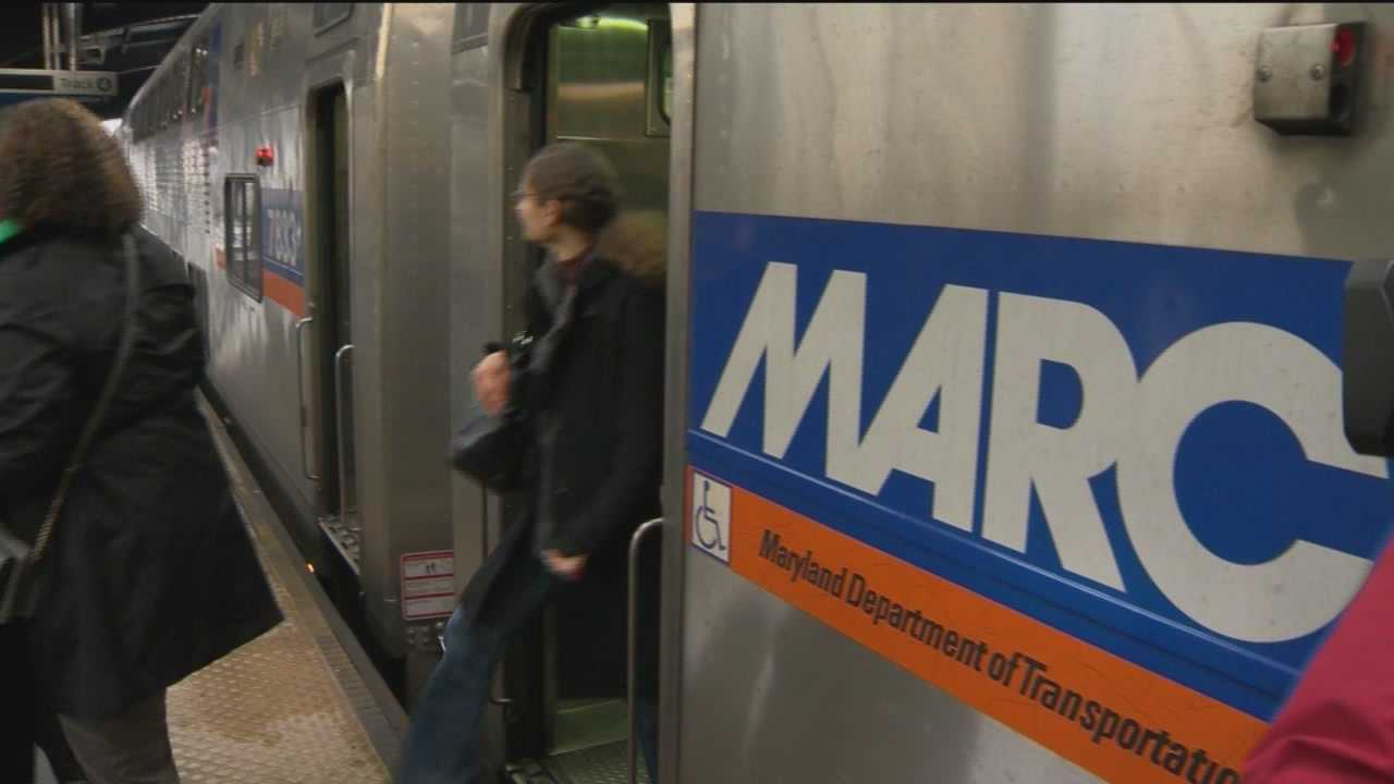 MARC train at station