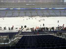 M&T Bank Stadium field covered with morning snow