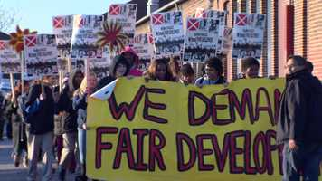 Hundreds of students, parents, teachers and workers protest against the building of the nation's largest incinerator in south Baltimore.