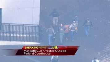 The man is taken into custody.