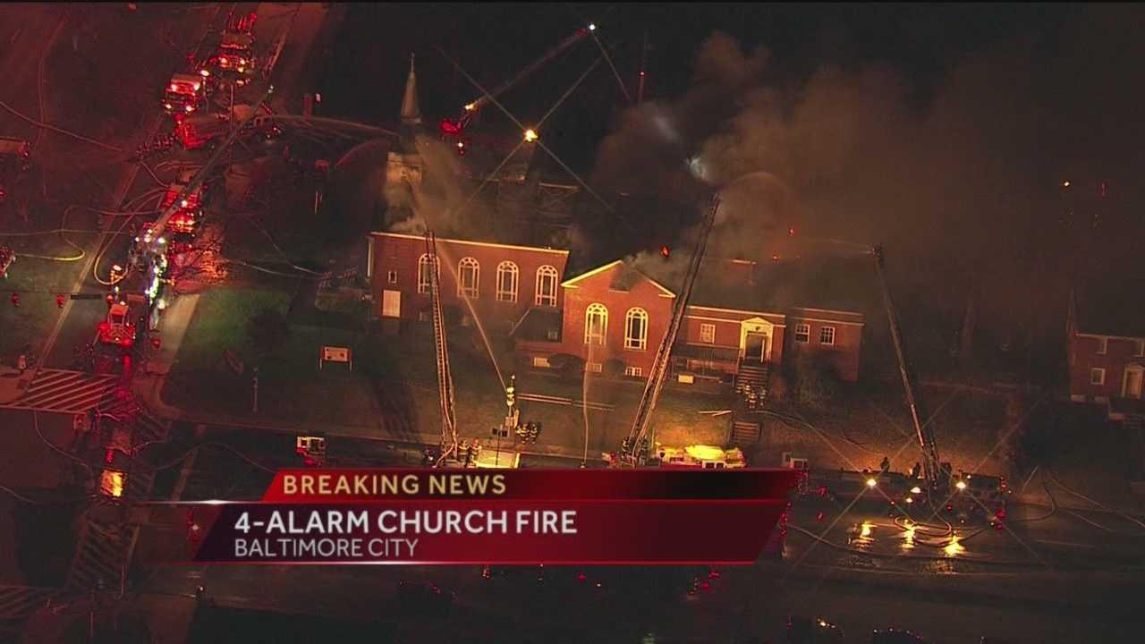 4-alarm fire damages church, school