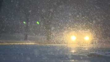 The snow caused slick conditions on the roads for those who braved them.