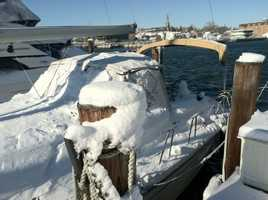 Snow-covered boats in Annapolis